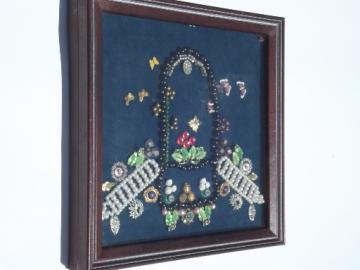 Vintage jewelry and buttons collage framed shadowbox picture, flower basket