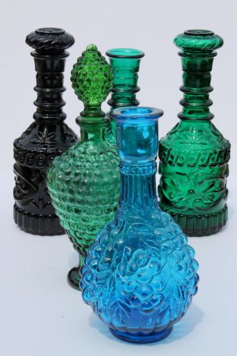 Vintage Jim Beam Colored Glass Genie Bottles Blue Amp Green
