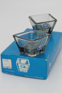 Vintage Kastrup Holmegaard danish modern square glass candle holders set