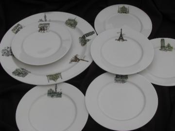 Vintage Kayson's china w/ world travel landmarks, plates and platter set