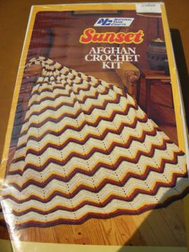 Vintage kit afghan blanket to crochet, autumn colors acrylic yarn