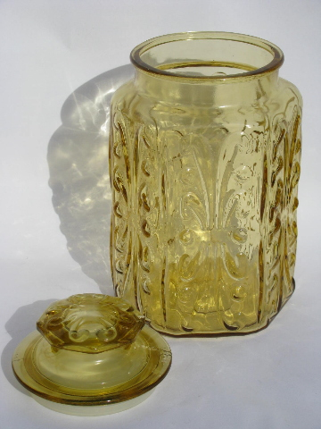 Vintage Kitchen Canisters Amber Glass Canister Jars Set W