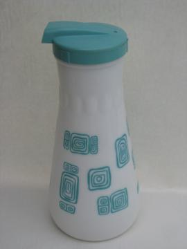 Vintage kitchen glass refrigerator juice bottle or water carafe, mod aqua / white