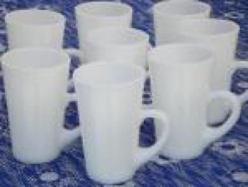 Vintage kitchen milk glass tall cups, mug handled tumblers set of 8