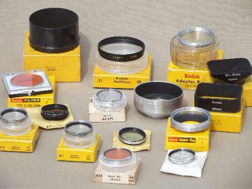 Vintage Kodak camera lens accessories, assorted lenses, filters & adapter rings