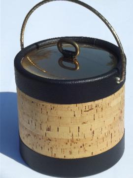 Vintage Kraftware ice bucket, retro 70s cork & mod black leatherette