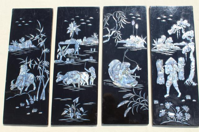 Vintage Lacquer Ware Wall Art Panels Glossy Black Wood W Mother Of