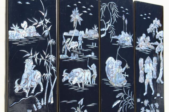 vintage lacquer ware wall art panels, glossy black wood w/ mother of pearl shell inlay scene