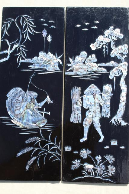 Vintage Lacquer Ware Wall Art Panels Glossy Black Wood W