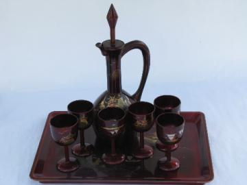 Vintage lacquerware decanter / glasses / tray set, red lacquer w/ hand-painted gold