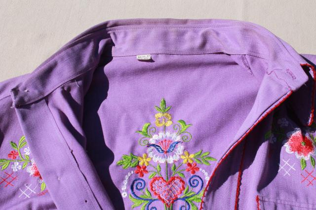vintage ladies western riding rodeo shirt w/ embroidery, girly cowgirl cute!