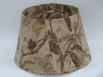 Vintage lamp shade w/ 50s tropical leaf print wallpaper, natural colors