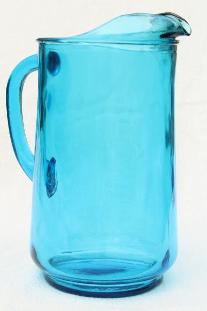 vintage laser blue Anchor Hocking glass pitcher, retro lemonade pitcher
