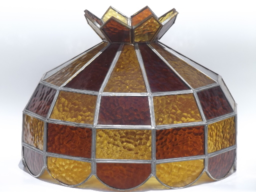 Vintage leaded glass lamp shade amber stained glass shade for vintage leaded glass lamp shade amber stained glass shade for ceiling light aloadofball Images