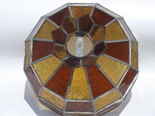 Vintage leaded glass lamp shade amber stained glass shade for vintage leaded glass lamp shade amber stained glass shade for ceiling light aloadofball Image collections