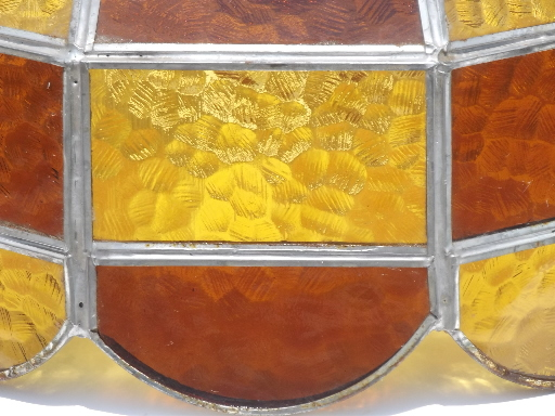 Vintage Leaded Glass Lamp Shade Amber Stained Glass Shade