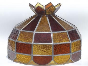Vintage leaded glass lamp shade, amber stained glass shade for ceiling light