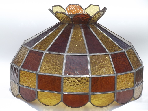 vintage leaded glass lamp shade amber stained glass shade for