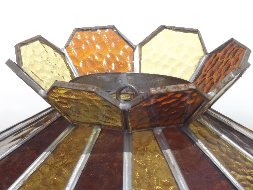 vintage leaded glass lamp shade amber stained glass shade for ceiling light