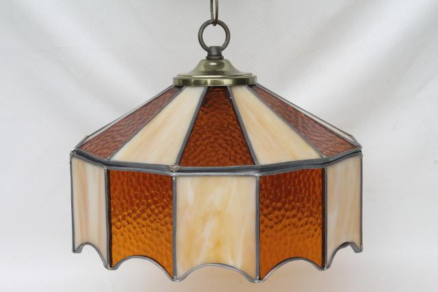 Fresh vintage leaded glass shade light fixture, amber stained glass  TZ32