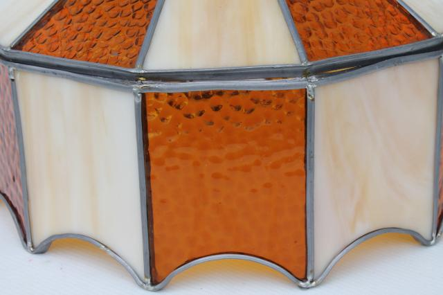Vintage Leaded Glass Shade Light Fixture Amber Stained