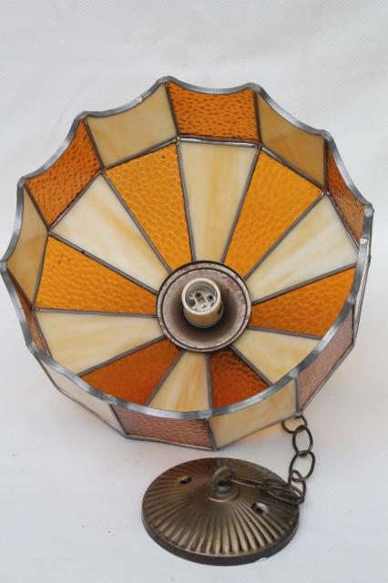 vintage leaded glass shade light fixture, amber stained glass pendant hanging lamp