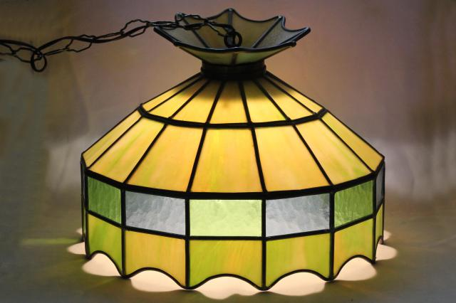 vintage leaded glass shade light fixture green stained. Black Bedroom Furniture Sets. Home Design Ideas