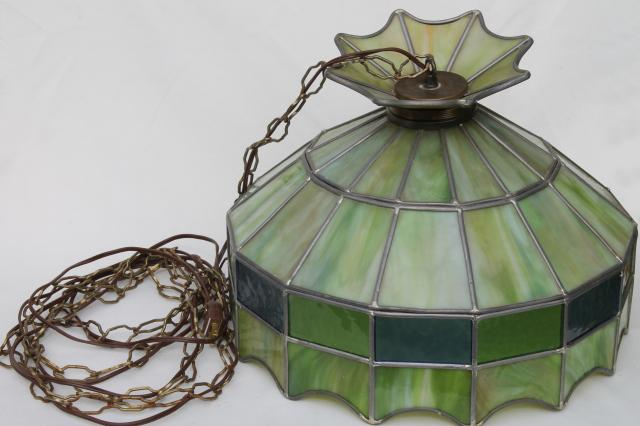 vintage leaded glass shade light fixture green stained glass
