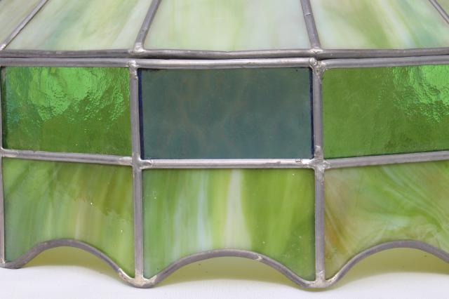 Vintage Leaded Glass Shade Light Fixture Green Stained