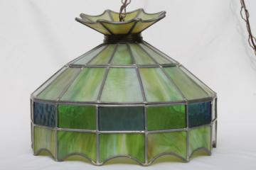 vintage leaded glass shade light fixture, green stained glass pendant hanging lamp