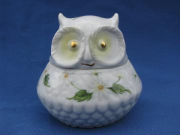 Vintage Lefton handpainted Japan china owl trinket box, Lefton's label