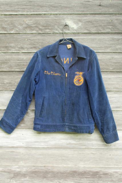 vintage letter jacket, 50s 60s FFA Future Farmers of America embroidered emblem