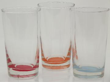 Vintage Libbey bright color base glasses, impressions colors tumblers