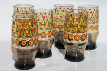 Vintage Libbey glasses with orange daisies lace & tulips, tawny smoke brown tumblers