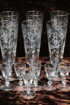 Vintage Libbey lily of the valley pattern glass, pilsner glasses & tiny goblet cordials