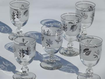 Vintage Libbey silver foilage water glasses, big retro wine goblets