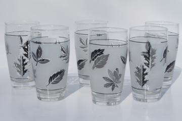 Vintage Libbey silver foliage drinking glasses, set of six tumblers w/ silver leaves