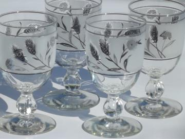Vintage Libbey silver wheat water glasses, big retro wine goblets
