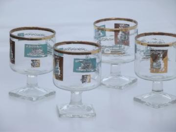 Vintage Libbey / Southern Comfort glasses set, retro aqua and gold