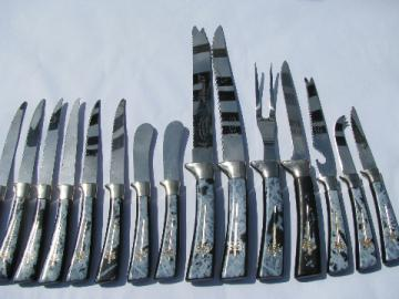 Vintage Lifetime Sheffield stainless knives, mod black marble plastic handles