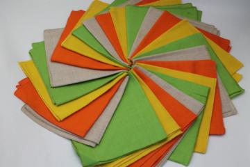 Vintage linen weave cotton fabric napkins, cloth napkins in citrus yellow, lime green, orange