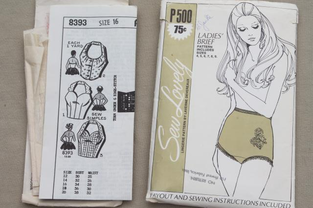 vintage lingerie sewing patterns - slips, bras & panties, negligees, pajamas, bodysuit