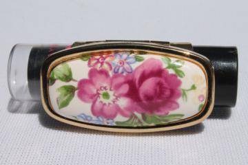 vintage lipstick holder clip compact mirror, purse accessory for lip balm / color