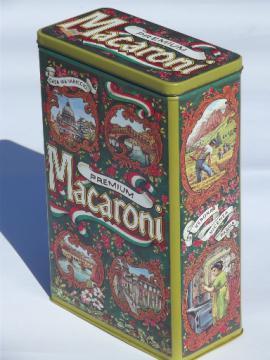 Vintage litho print pasta canister for Italian macaroni, 70s retro tin