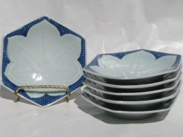 Vintage lotus leaf porcelain sushi plates, cobalt blue and white china