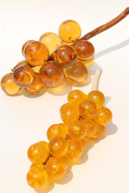 vintage lucite grapes, amber yellow gold lucite plastic, 60s 70s mod