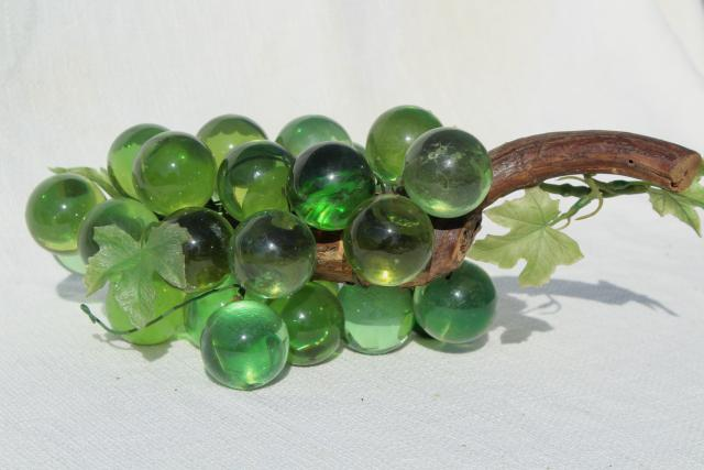 vintage lucite grapes, bottle green lucite plastic, 60s 70s mod