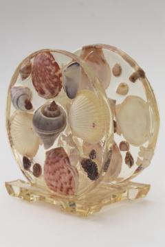 vintage lucite plastic napkin holder w/ seashells, retro beach house decor