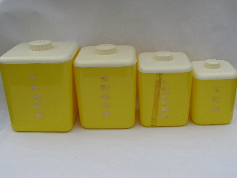 Vintage Lustro Ware kitchen canisters set, 50s yellow ...