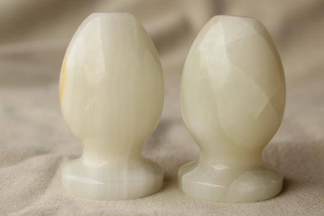 vintage marble onyx orb salt and pepper shakers, natural stone egg S&P set